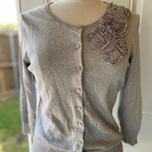 The Limited Cardigan Sweater Button Down Gray Med